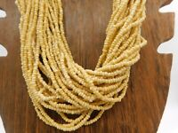 """Vintage Multi Strand Brown Tan Sand Silver Tone Twisted Seed Bead 25"""" Necklace"""