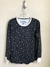 PJ Salvage Black Pajama Top Sleep Shirt Lounge  Polar Fleece Stars Size Small