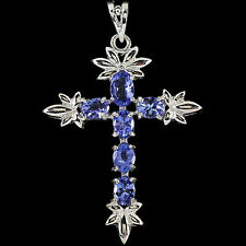 Sterling Silver 925 Genuine Natural Violet Blue Tanzanite Cross Designer Pendant