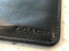 100% Authentic Coach Black Leather Luggage Tag Embossed