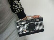 Sac à main minaudière forme appareil photos vintage original pied de poule noir