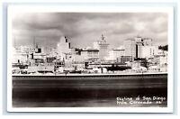 Postcard Skyline of San Diego, CA from Coronado RPPC G40