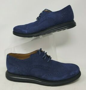 Cole Haan Lunargrand C12449 Blue Suede Wingtip Shoes Mens 9