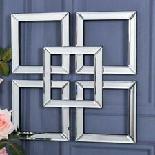 Square Mirrored Wall Art Mirror Geometric Glass Bevelled Art Decor 40 x 40cm