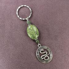 SERPENTINE STONE SNAKE KEYCHAIN Key Ring Snakeskin Serpent Pendant Green Silver