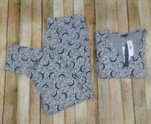 New Cosabella Talia Star Moon Print Pajama PJ LS Top Pants Large Gray Cotton