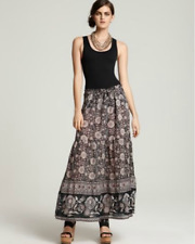 NEW Joie $228 Gray Eunice Printed Cotton Maxi Skirt Sz Large