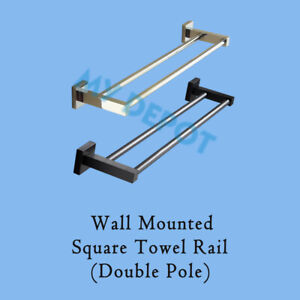 Wall Mounted Towel Rack Square Double Rail Stainless Steel Chrome Black Bathroom