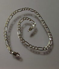 """New Sterling Silver Solid Figaro Pave Anklet  Bracelet Chain 10"""" Width 5mm G1096"""