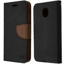 SAMSUNG GALAXY J3 2018/ J3 STAR BLACK BROWN FLIP JACKET WALLET HYBRID CASE COVER