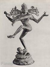 1928 Original INDIA Natesa Dancing Shiva Bronze Sculpture Photo Art By HURLIMANN