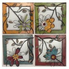 4 Pieces sets Wall Art Wall Hanging Flowers Decor with Timber Frame