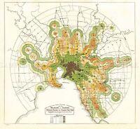 MAP TRANSPORT MMTB 1922 MELBOURNE TRAINS TRAMS REPLICA POSTER PRINT PAM1242