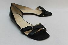 CHRISTIAN LOUBOUTIN Ladies Black Leather Open Toe Strappy Sandal Shoes UK6 EU39