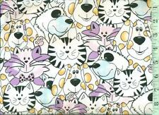 1/2 yard FLANNEL Black and White Dogs & Cats with Pastels BTHY