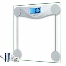 Digital Body Weight Bathroom Scale with Body Tape Measure, Large Silver 400Lb