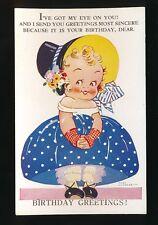 Greetings Birthday artist AGNES RICHARDSON Eye on You c1920/30s? PPC
