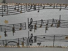 """5 yds. WOVEN IVORY MUSIC NOTES SHEET MUSIC WIRE EDGE RIBBON  2 1/2"""" Wide"""