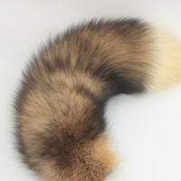 Real Red Fire Fox Tail Fur Leather Hair Handbag Keychain Hook Pelt Cosplay Toy