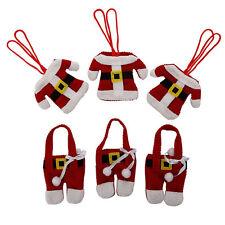 6x Costume Père Noël Dîner Table Décoration Tissu Support De Couverts Poches