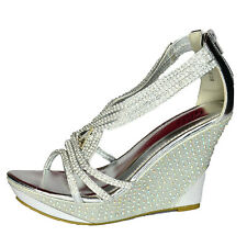 New Women/'s Ladies Wedding High Platform Wedge Shinny Sandals Holiday Prom Shoes