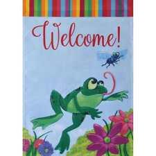 """Frog Welcome 12.5"""" X 18"""" Garden Flag 11-3030-246 Rain Or Shine Spring"""