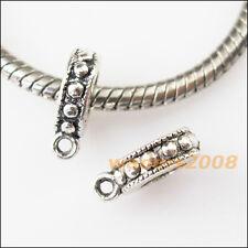 15 New Tiny Tibetan Silver Bail Bead Fit Bracelet Chrams Connectors 10x13mm