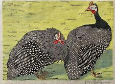 RARE 4 Color Original-Martin Erich Philipp Woodcut Print-Guinea Fowls-Dated 1918