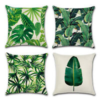 Green Tropical Cushion Cover Rainforest Palm Banana&Leaf Pattern Home Pillowcase