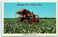 *Jackson Tennessee Mechanical Cotton Picker Machine Black Vintage Postcard C59
