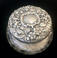 Antique Stieff Sterling Silver & Cut Glass Powder Jar Dresser Jar with Powder