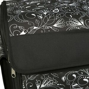 New Floral Flower Rolling Tote Sewing Machine Wheeled Carrier Storage Bag Case