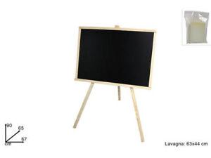 Lavagna con cavalletto in legno 63x44 cm scrivibile con gessetto e cancellino