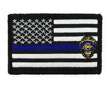 Thin Blue Line Badge Flag Tactical Hook & Loop Morale Tags Patch American BW