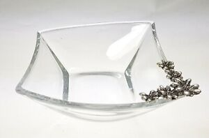 Bowl for Sweets Hervit Crystal 13x14 CM with Decoration Metal Silver