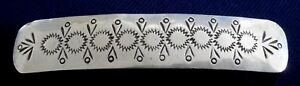 NATIVE AMERICAN LC STERLING Silver Stamped Vintage HAIR CLIP