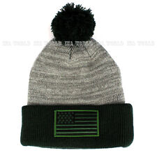 USA American Flag hat Pom Beanie Stars-Stripes Knit Cuffed Ski cap- Grey/Green