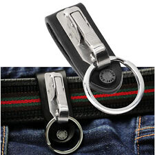 Stainless Steel Leather Detachable Keychain Belt Clip Key Ring Holder