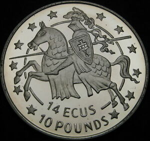 GIBRALTAR 14 Ecus 10 Pounds 1991 Proof - Silver - Knight on Horseback - 1420 ¤