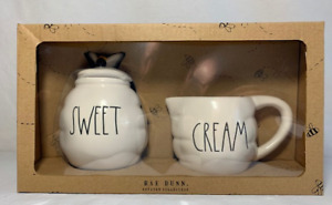 Rae Dunn Beehive SWEET and CREAM Set Sugar and Creamer with BEE Topper