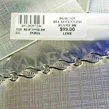 NWT Zales .925 Diamond Accent Flame Bracelet Silver Drawstring Bag