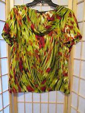 Preston & York Womens Sublimation Cowl Neck Blouse Top Sz M Multi Color