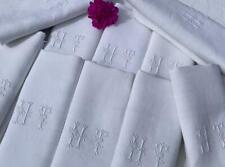 More details for 10 huge vintage french pure linen napkins serviettes mono h t chateau chic