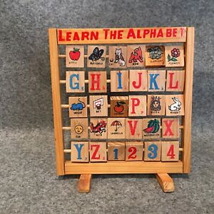 "Vintage ""Learn the Alphabet""  Wooden Toy - Folding Turning Block Educational Toy"