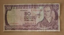"""1986.  Republic of Colombia 50 Pesos Oro paper currency  """" Nice """"  ⛰."""