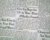 2 MATHER Greene County Pennsylvania Coal Mine EXPLOSION Disaster 1928 Newspapers