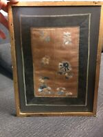 """VERY FINE Antique Japanese silk embroidery / embroidered panel of Flowers 11.5"""""""