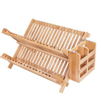 HBlife Dish Rack,HBlife Bamboo Folding 2-Tier Collapsible Drainer Dish Drying 1,