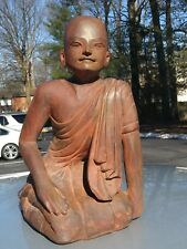 vintage Asian Burmese Carving wood of Kneeling Buddhist Monk large statue