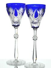 """2 Faberge Czar Cobalt Blue Cut to Clear Cased Crystal Water Wine 11"""" Goblets"""